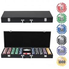 Набор для покера в деревянном кейсе, 500 фишек